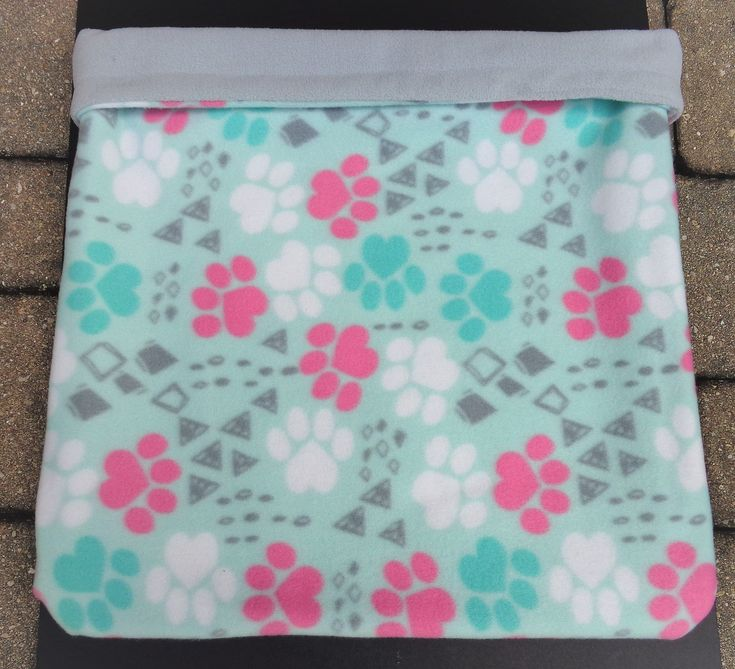 Snuggle Sacks, Dog Sleeping Bag, Paw Print, Mint Green