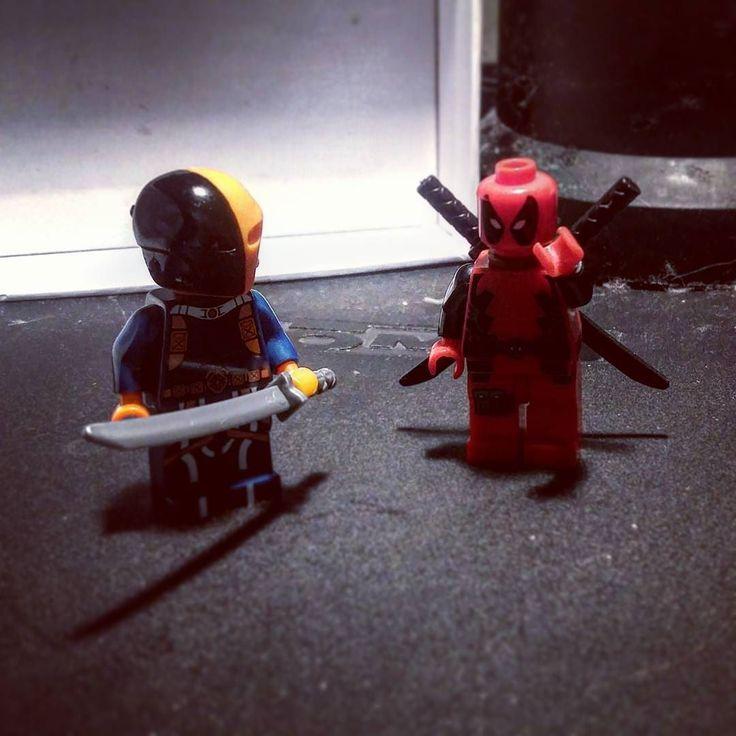 Deadpool: hey there I'm deadpool. Deathstroke: no you're dead. Wade meets slade pt.1 #legos #lego #marvelcomics #marvel #dccomics  #dc #toyphotography #toys #toycommunity #actionfigurephotography #actionfigures by steakfromjasefarm
