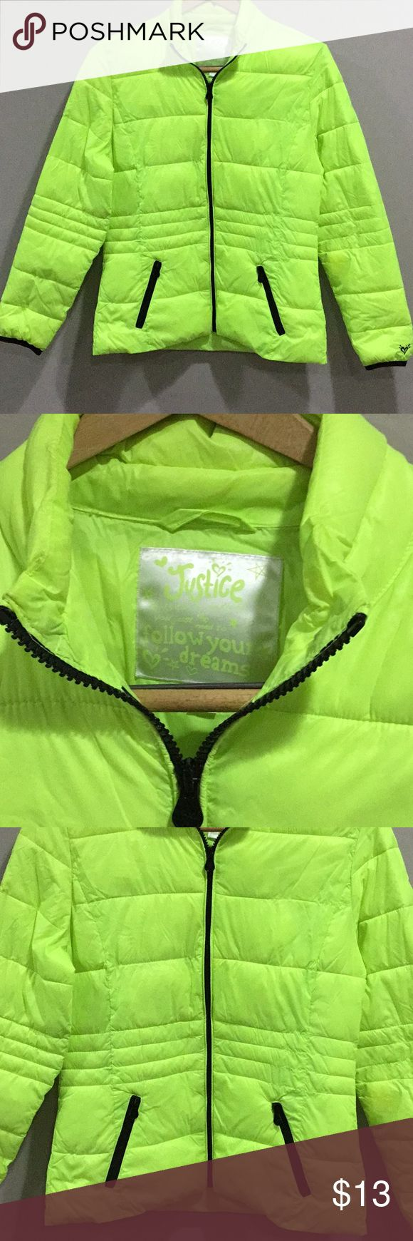JUSTICE PUFFER COAT NEON LIME SZ 18 GOOD CONDITION. SIZE 18. NEON HIGHLIGHTER GREEN PUFFER JACKET. SMALL STAIN BARELY NOTICEABLE, ON ARM SEE PIC. Justice Jackets & Coats Puffers