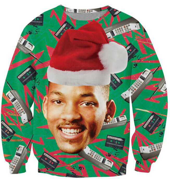 Causal  Sweatshirt Fresh Prince Christmas Crewneck Jumper Will Smith With Christmas hat Outerwear Women Men Plus Size