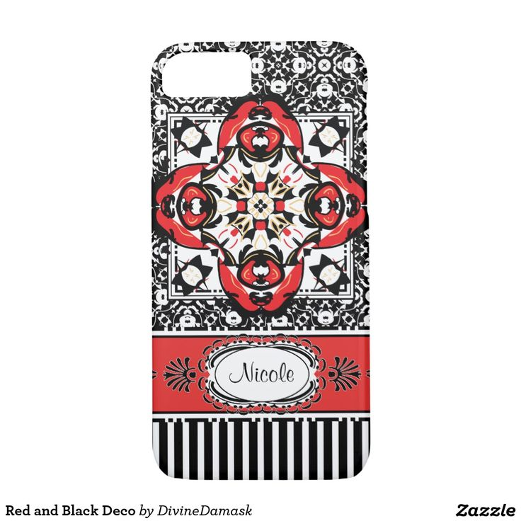 Red and Black Deco iPhone 7 Case