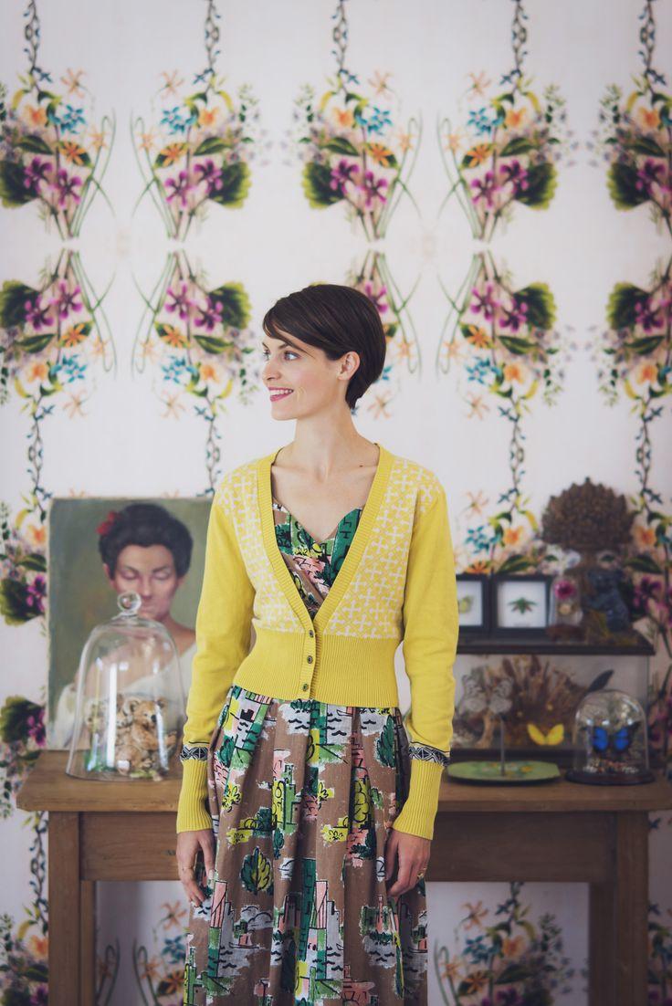 Alice dress in Brooklyn with Verity Cardigan in Citrus LAZYBONES.COM.AU