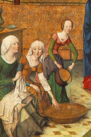 detail from the birth of mary, Master of the Life of the Virgin, c. 1470, Germany (Alte Pinakothek, München) - under skirt