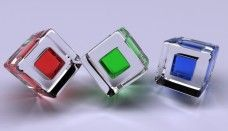 Red Green Blue 3D Cube Glass Wallpaper