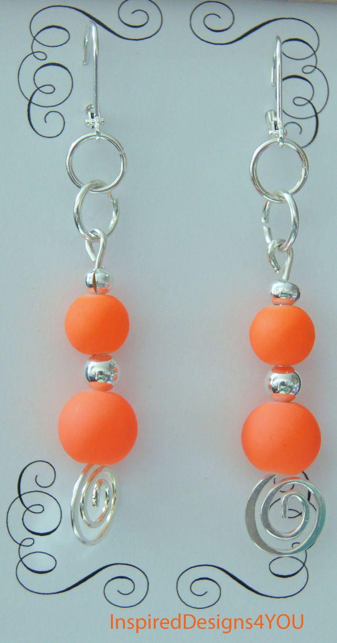 Orange Neon Sterling Silver Stamped Earrings. 925 Sterling.  Rubberized Glass. Statement Earrings by JewelleryInspired4U, $13.60 USD