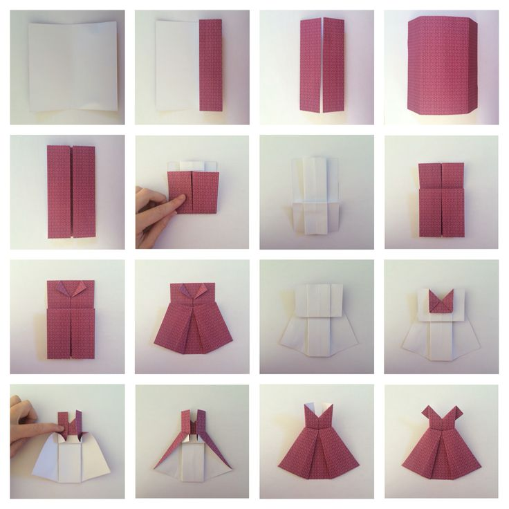 Месяцев, платье оригами на открытках