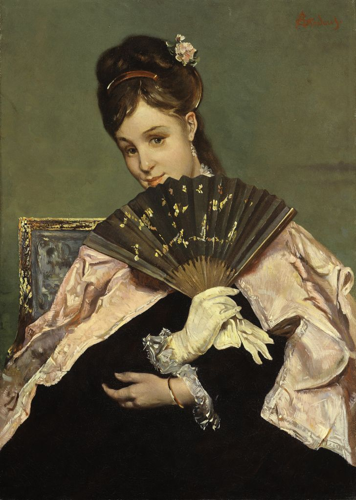 Alfred Stevens - Portrait of a Young Lady with Fan