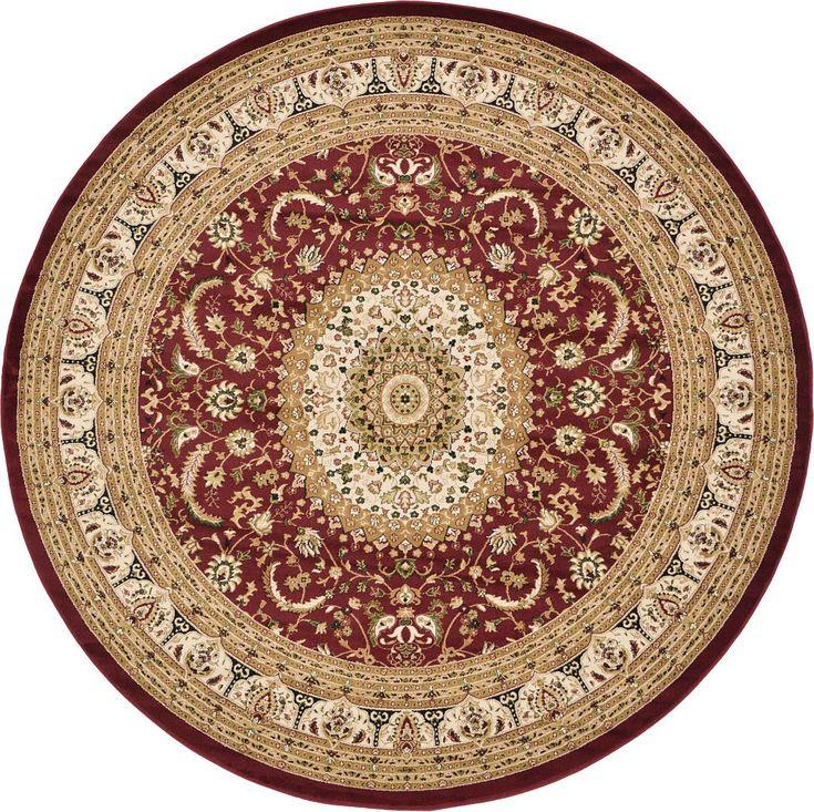 Red 9u0027 10 X 9u0027 10 Mashad Design Round Rug | Area Rugs |