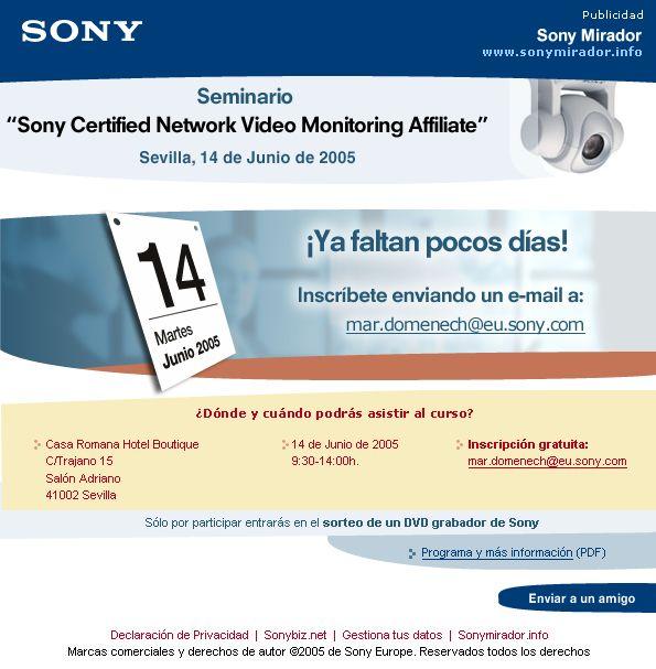 SONY · Sony Mirador · Events Marketing via the B2B newsletter we created · 2005