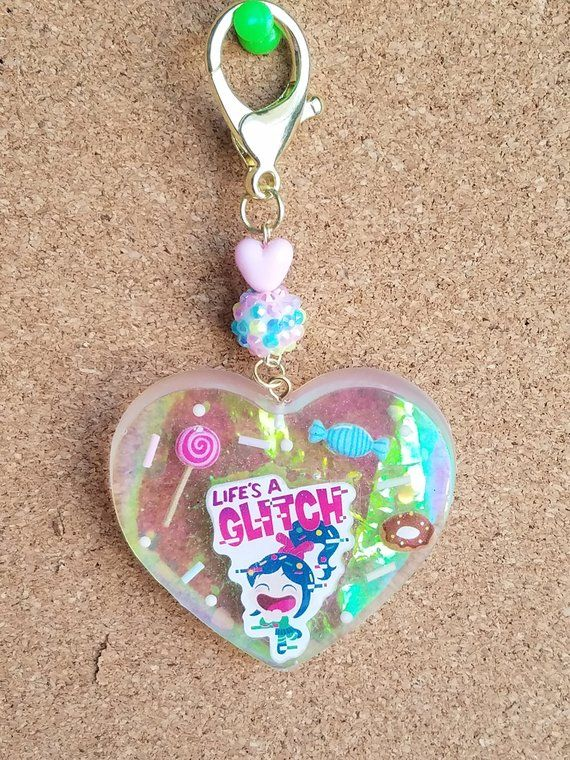 Life's a Glitch XL Holo Heart Keychain Resin Charm   Etsy