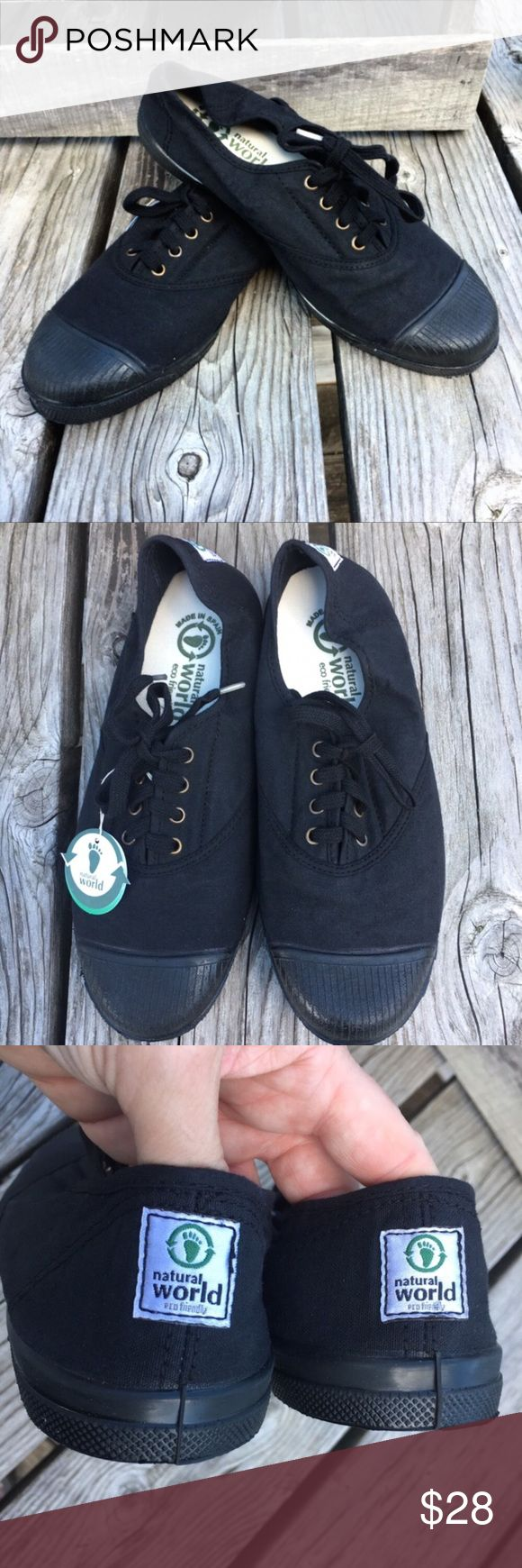 🆕List! Natural World Black Organic Sneakers! NEW! Made from 100% organic cotton! Platform height is 0.75 inches. Size is EUR 39 - please know your EUR size before purchasing as Poshmark's translation is inaccurate imo. I measured the inside sole to try to help! Total length of inside sole is 9.75 inches. Inside sole width is 3 and 3/8 inch at widest point. (This is equivalent to a size 8 I have measured in the past!) Outside sole measures approximately 10.25 inches long and 3 and 5/8 at the…