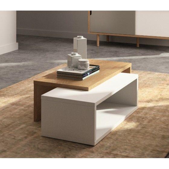 Table basse design chêne/blanc Exo ATYLIA