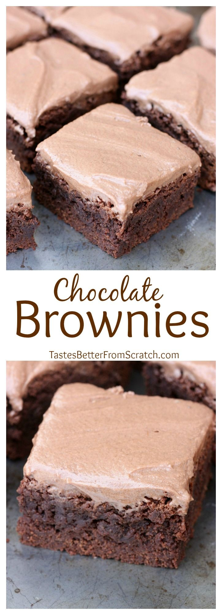 Thick and Chewy Chocolate Frosted Brownies--just like the lunch lady brownies you ate as a kid! Recipe on TastesBetterFromScratch.com