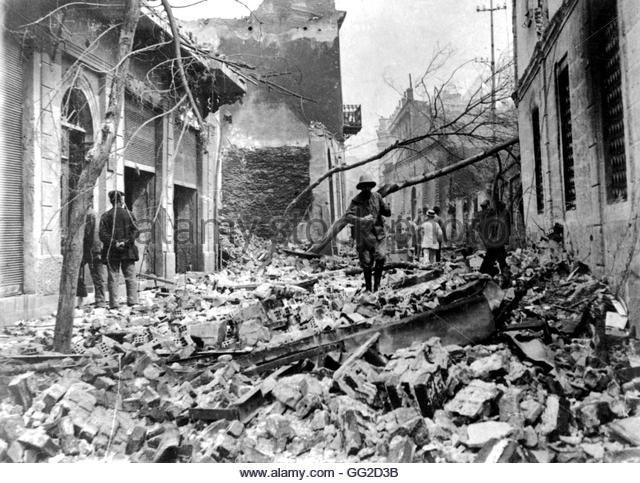 Great Thessaloniki Fire in Greece September 4, 1917 Vincennes. War museum - Stock Image