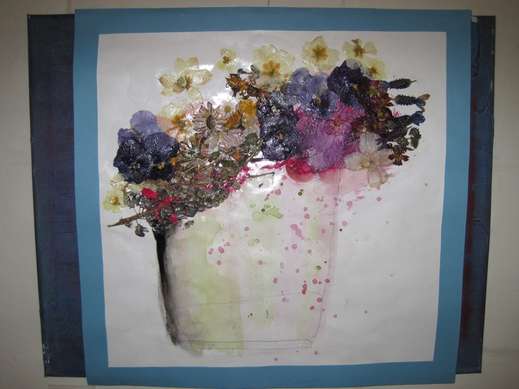 A bucket full of flowers from our Art Exhibition at The Church Tea Rooms, Radstock - July & August 2012