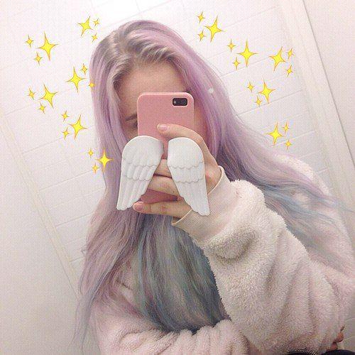 Необычные волосы, чехол для айфона, фото в зеркалье