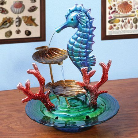 Decorative Glass And Metal Seahorse Indoor Water Fountain