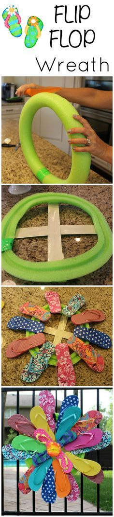 Flip Flop Wreath - easy dollar store DIY activity