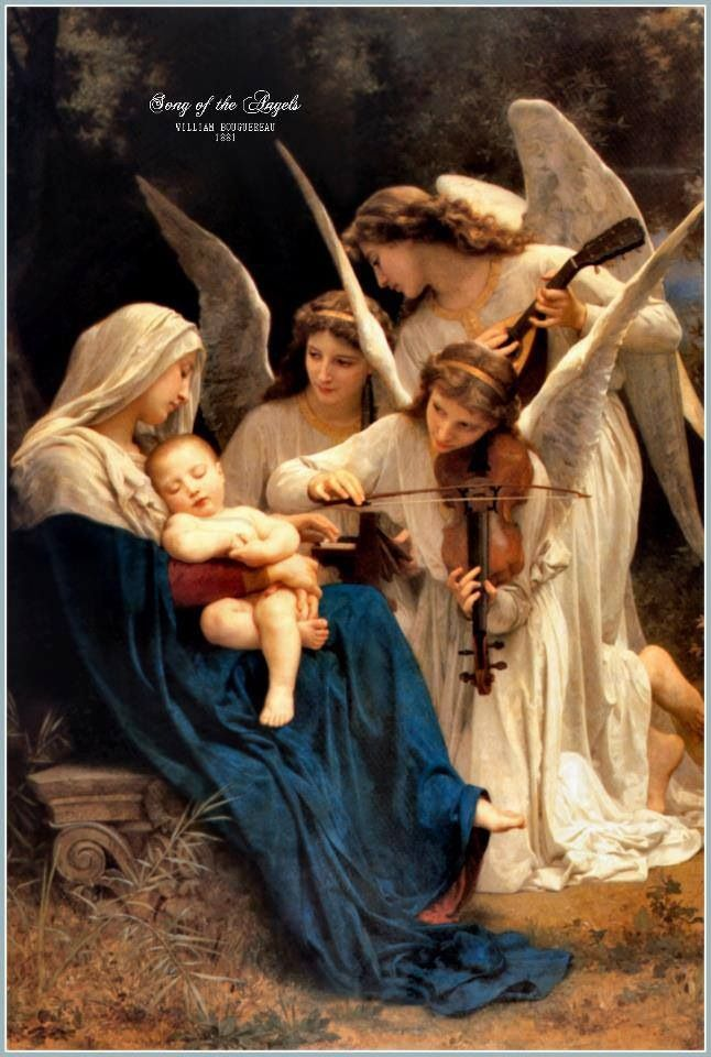 mary with baby jesus and angels mother mary pinterest