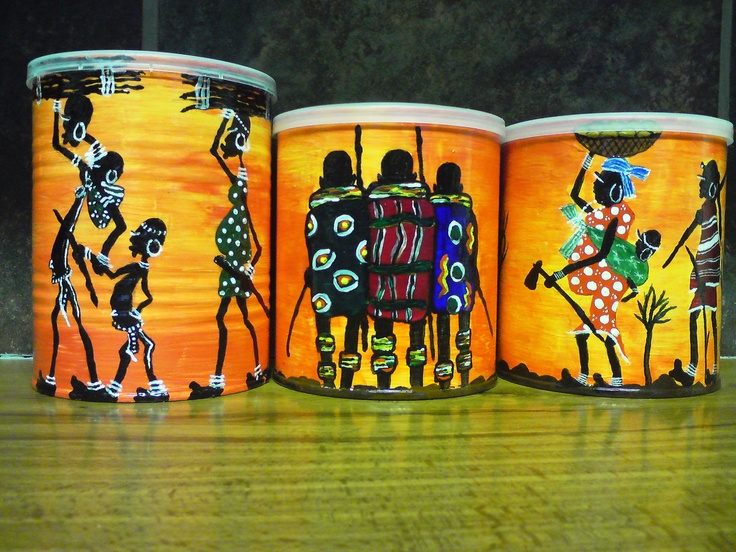 Coffee Tins recycled - painted to be coffee, tea an sugar tins in my kitchen!