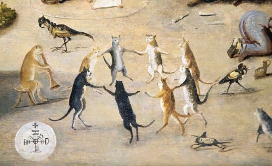 "Cats dance to a Satanic tune in a detail from ""The Witches Cove"", a 16th century Flemish painting by a follower of Jan Mandijn."