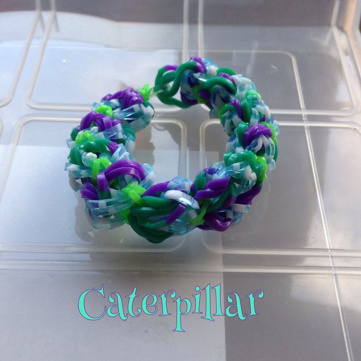 Purple, green & blue Caterpillar bracelet, made on 2 forks (design: Cheryl Mayberry)