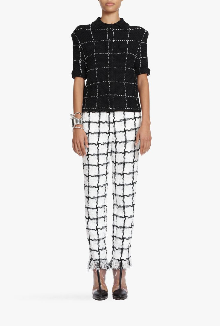 Checked knitted blouse | Women's knit jackets | Balmain