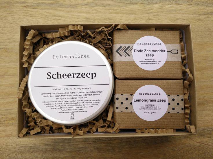 Scheer Gift set van scheerzeep en twee stukken zeep, geweldig cadeau voor vader, vriend, familie / handgemaakte natuurlijke zeep door HelemaalShea op Etsy
