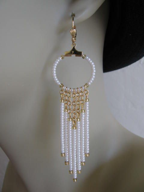Seed Bead Chain Hoop Earrrings - Pearl Cream.                                                                                                                                                                                 More