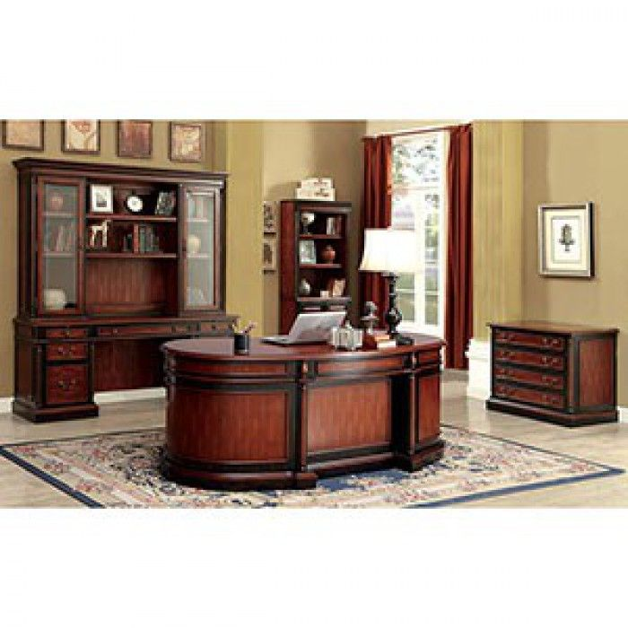 Create a productive work environment with these traditional office furnishings. A two-tone finish updates the vintage feel and warms up all settings. Multiple storage compartments for files, books and accessories allow this collection to fit any home and accommodate any professional.