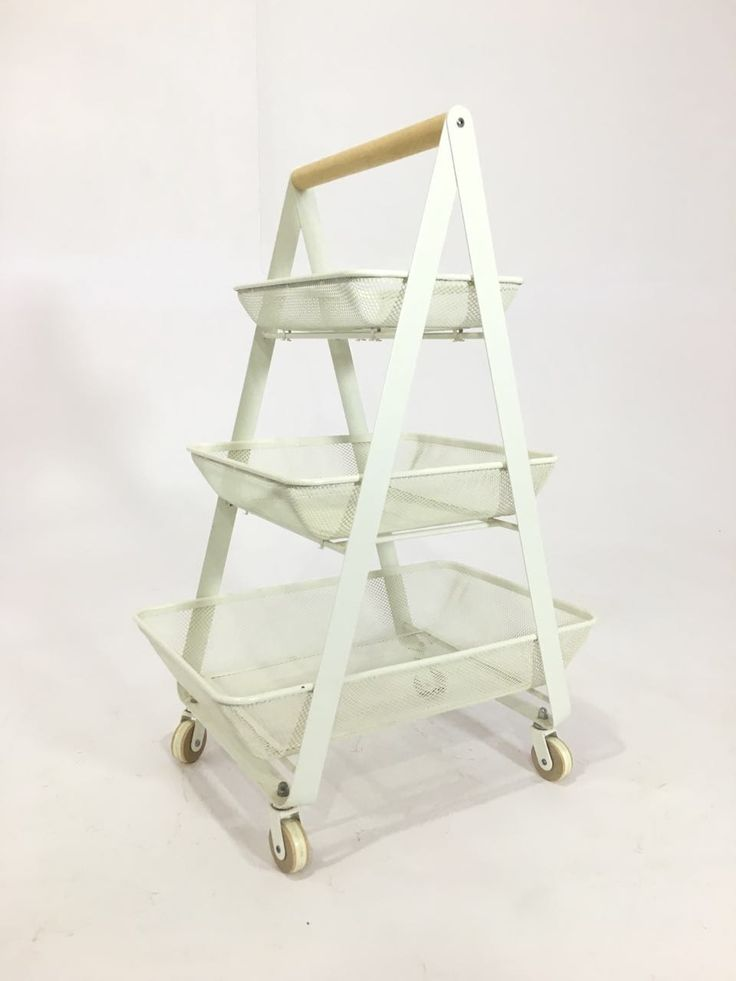 """PYF-0494--Metal White Kitchen Trolly With 3 Different Size Try Triangular Stand (h34""""Xw23""""Xd15"""")"""