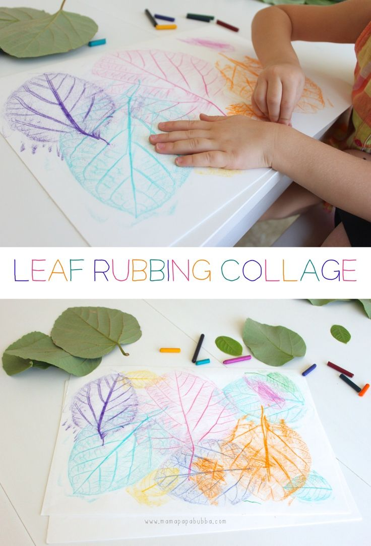 Great fall craft for kids! Leaf Rubbing Collage.  | Mama Papa Bubba