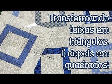 Dica da Tia Lili: transformando faixas em triângulos e quadrados com régua para patchwork - YouTube