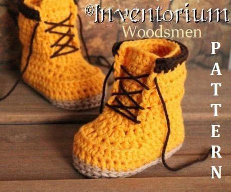 "Crochet Boots PDF Pattern for Baby Boys ""Woodsmen"" Construction Boots Crochet Pattern, Yellow Crochet Baby Boots, street shoes PATTERN ONLY"