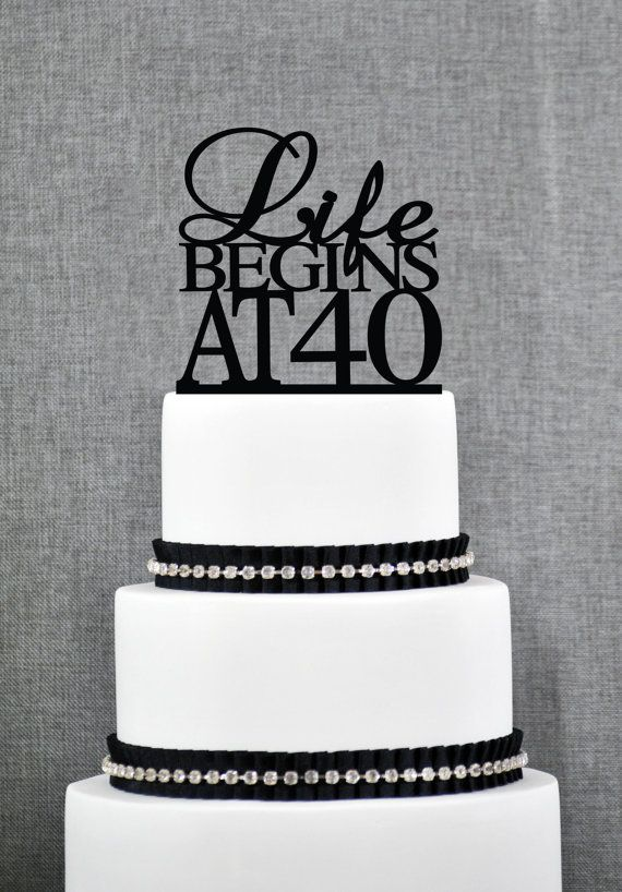 Life Begins At 40 Birthday Topper Elegant 40th Birthday