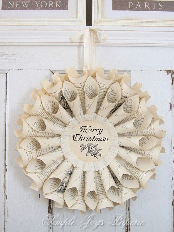 mto merry christmas ivory vintage book wreath door decor - Book Page Decorations