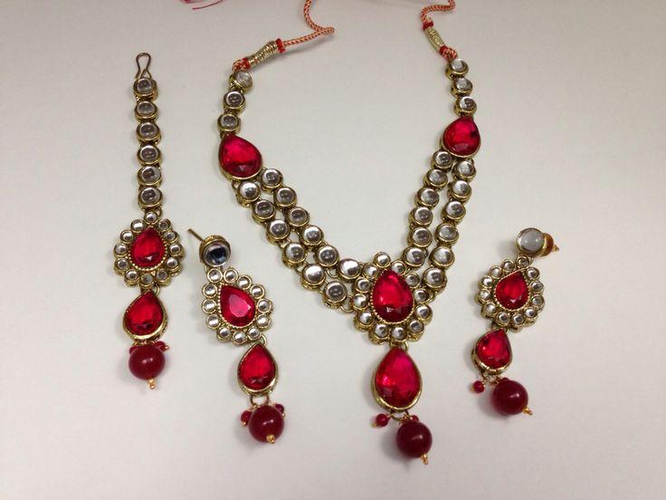 #kundan #doubleString #jewelrySet #matchingteeka #redStone #redandglass