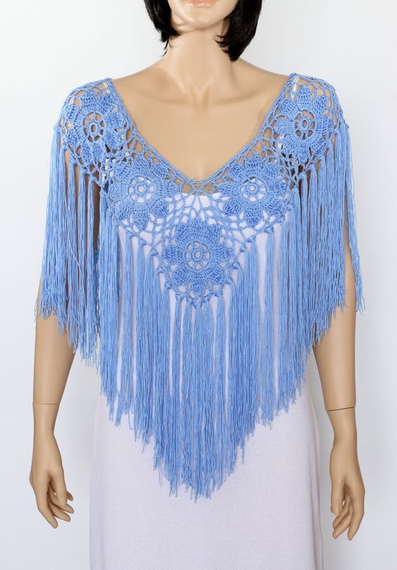 Handmade Shawl Poncho Blue poncho cape Bridal shawl crochet shawl wedding wrap bridal accessories wedding shawls by ettygeller on Etsy