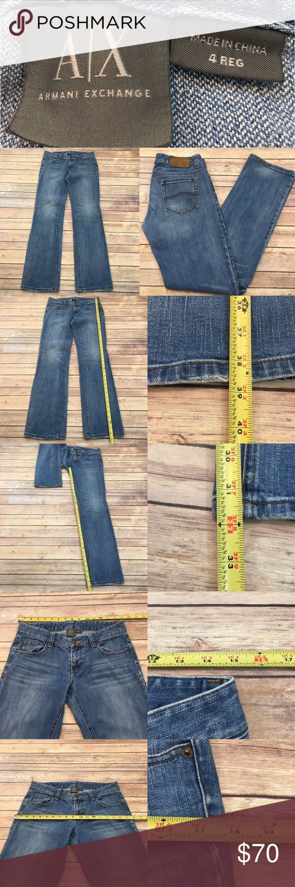 🏝Sz 4 Armani Exchange Bootcut Med Wash Denim Jean Measurements are in photos. Normal wash wear, shows some wear on the bottoms, no other flaws. F3/31  I do not comment to my buyers after purchases, due to their privacy. If you would like any reassurance after your purchase that I did receive your order, please feel free to comment on the listing and I will promptly respond. I ship everyday and I always package safely. Thanks! Armani Exchange Jeans Boot Cut