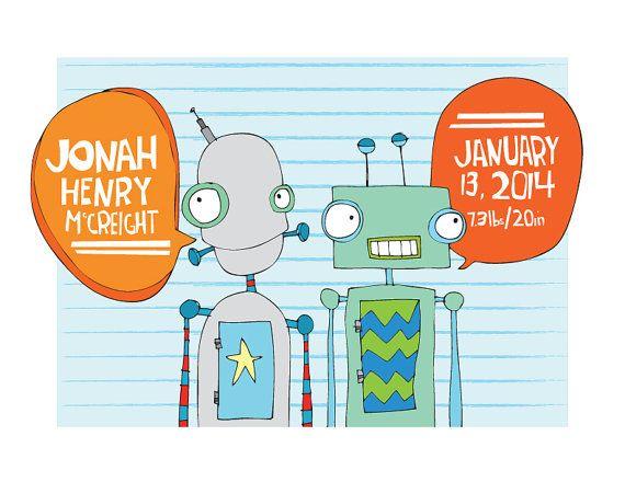 Personalized Robot Illustration Print