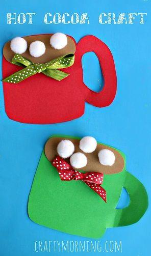 Pom Pom Hot Cocoa Mug Craft #Christmas craft for kids #Winter art project | http://CraftyMorning.com