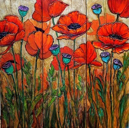 Poppy Garden 4, 24x24 acrylic triptych, original painting by artist Carol Nelson | DailyPainters.com                                                                                                                                                                                 More