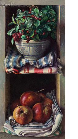 Interesting reinterpretation of still life.  For me it has both Italian and French overtones. Would fit in nicely with Country French.  art by Jef Diels