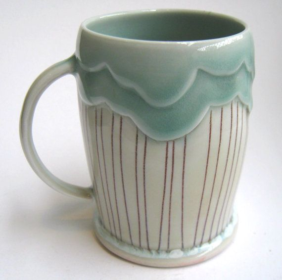 Can't get enough of these. LOVE!!! MADE TO ORDER Rain Cloud Porcelain Mug by SilverLiningCeramics, $36.00