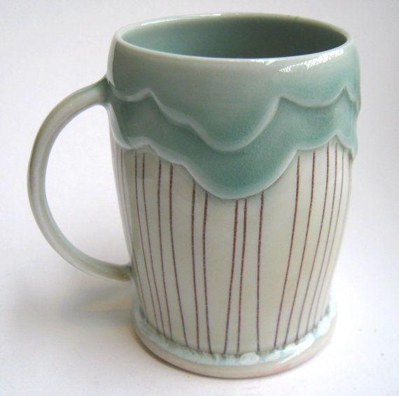 FATTO ordine Rain Cloud porcellana Mug di SilverLiningCeramics, $38.00
