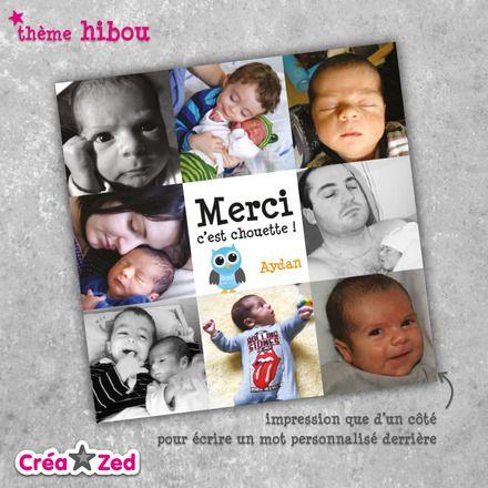 #fairepart #remerciements #naissance sur le thème #hibou avec #photos