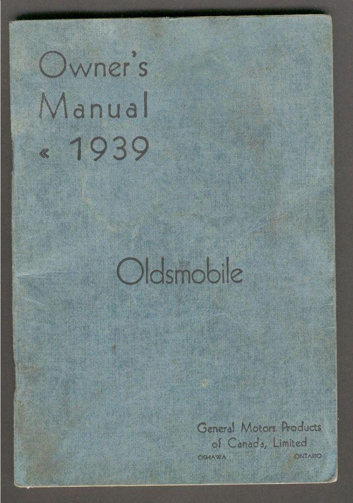 1939 Oldsmobile Canada Owner's Manual Original