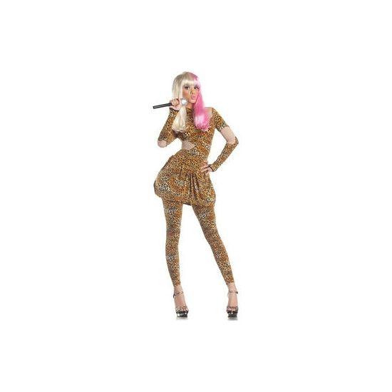 Luipaard print Nicki kostuum dames. Look-a-like Nicki Minaj jurk met legging in luipaard print.