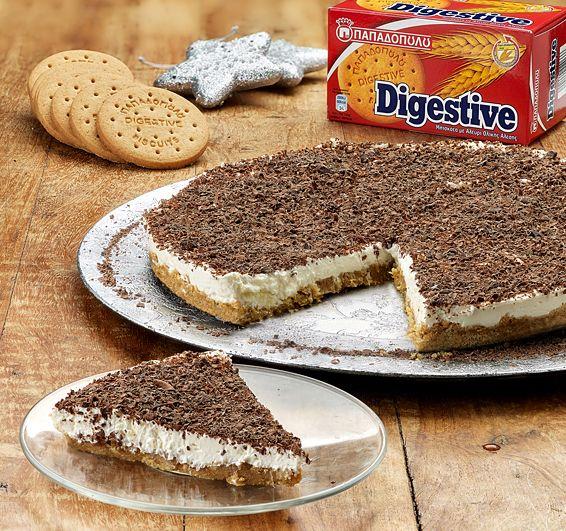 """Χριστουγεννιάτικο ginger cheesecake με μπισκότα """"Digestive"""" ΠΑΠΑΔΟΠΟΥΛΟΥ"""