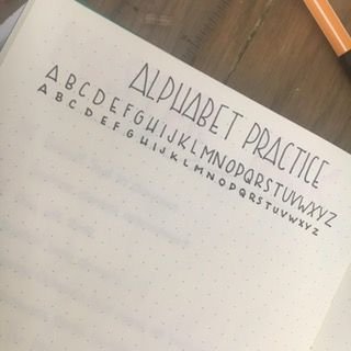 Tall skinny and small capital alphabet practice : bulletjournal
